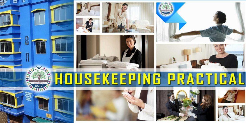 hotel housekeeping pratical class at BNG Hotel management kolkata