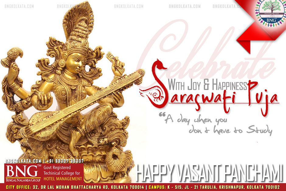 Happy Saraswati Puja and Vasant Panchami 2017 by BNG Hotel Management Kolkata