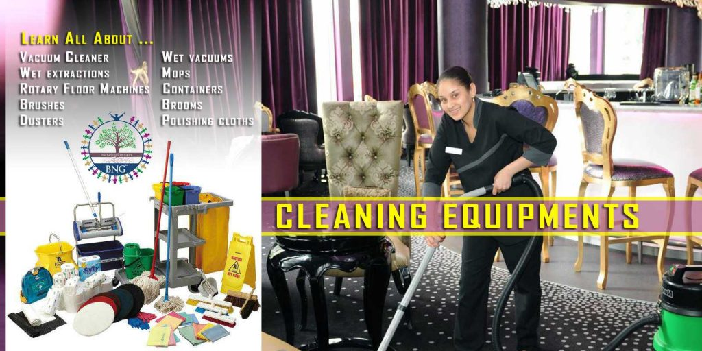 Cleaning equipments used in hotels by BNG Hotel Management Kolkata
