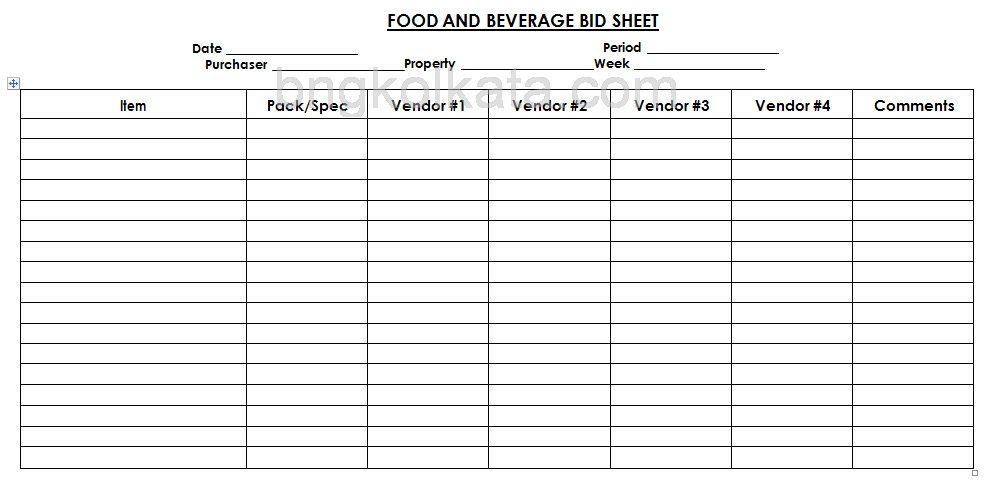 food and beverage bid sheet format for food ordering procedures by BNG Hotel Management Kolkata