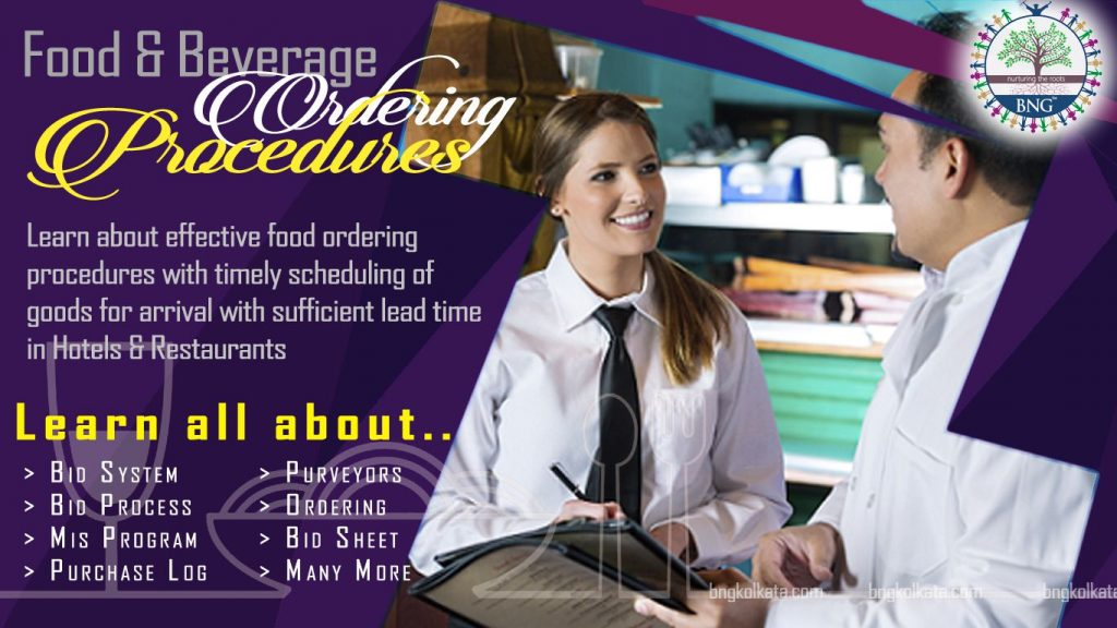 Food Ordering Procedures for Food and Beverage Service Establishments by BNG Hotel Management Kolkata