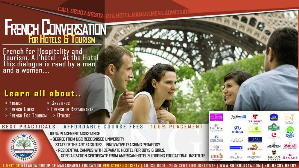 French Conversation and French for Hospitality and Tourism by Hotel Management Kolkata
