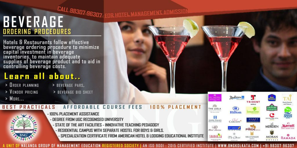 beverage ordering procedure for hotels and restaurants by BNG Hotel Management Kolkata