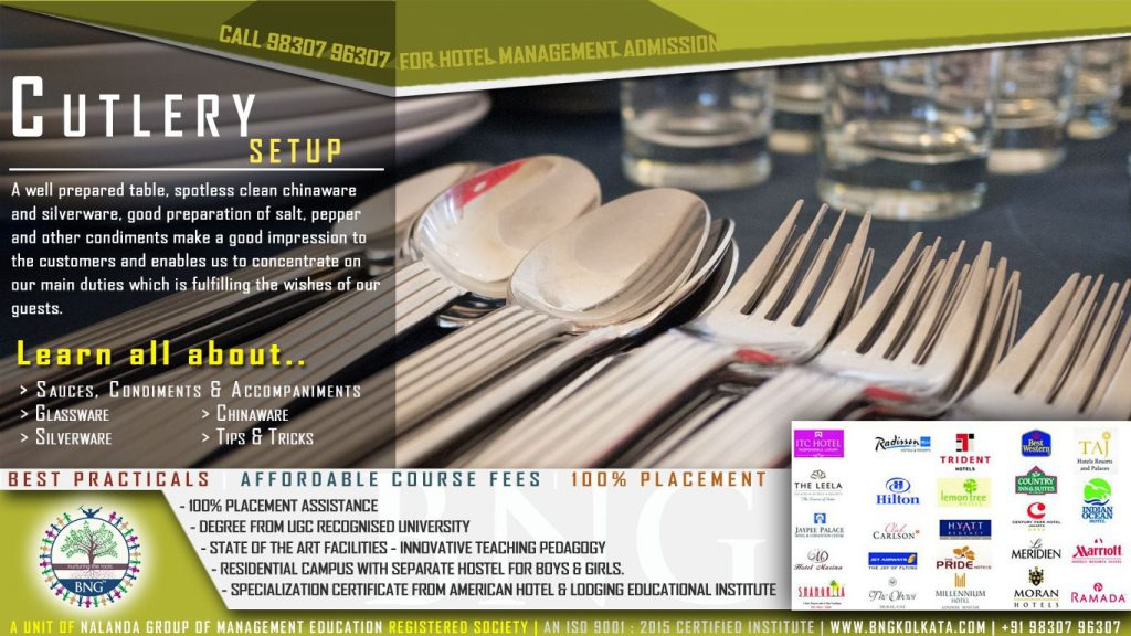 Special Cutlery Setup Styles by BNG Hotel Management Kolkata