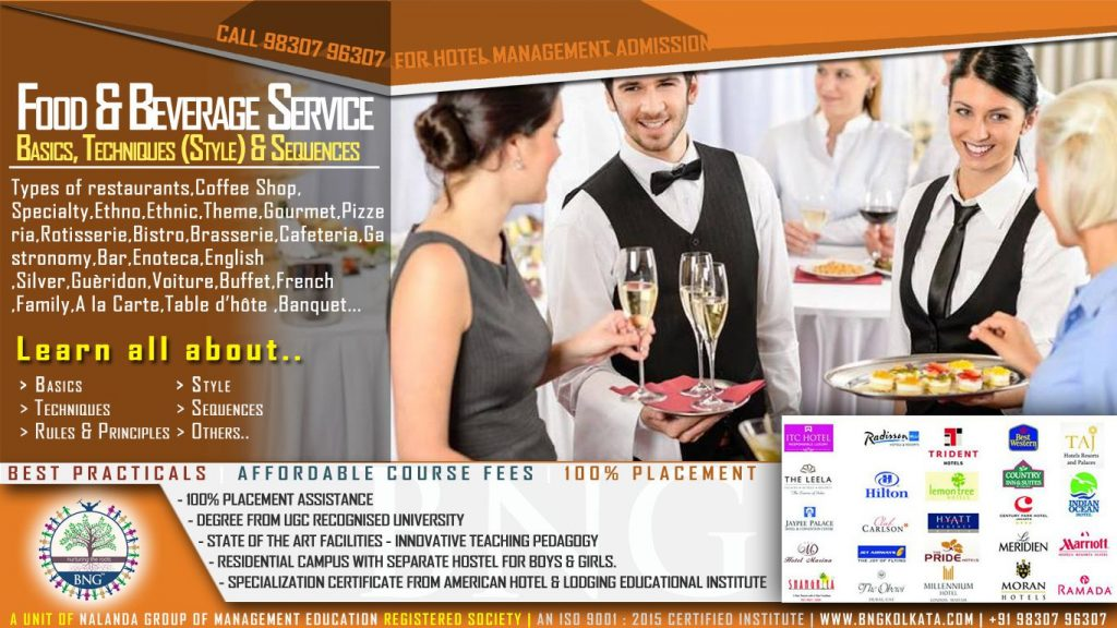 Food and Beverage Service Basics Techniques Style and Sequences by BNG Hotel Management Kolkata