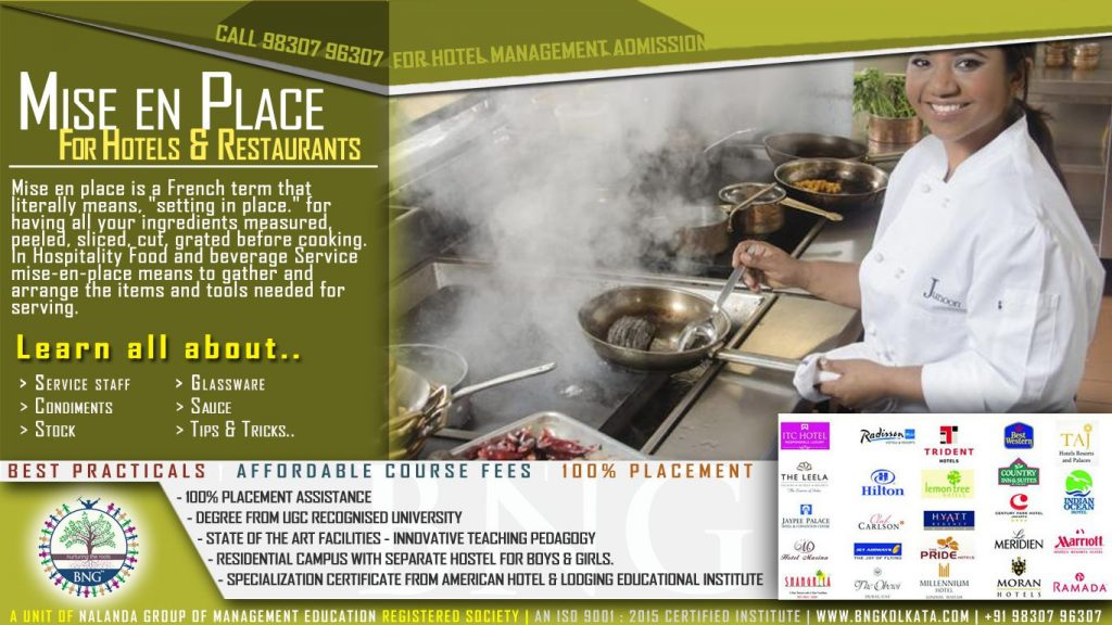 mise en place for hotels and restaurants by BNG Hotel Management Kolkata