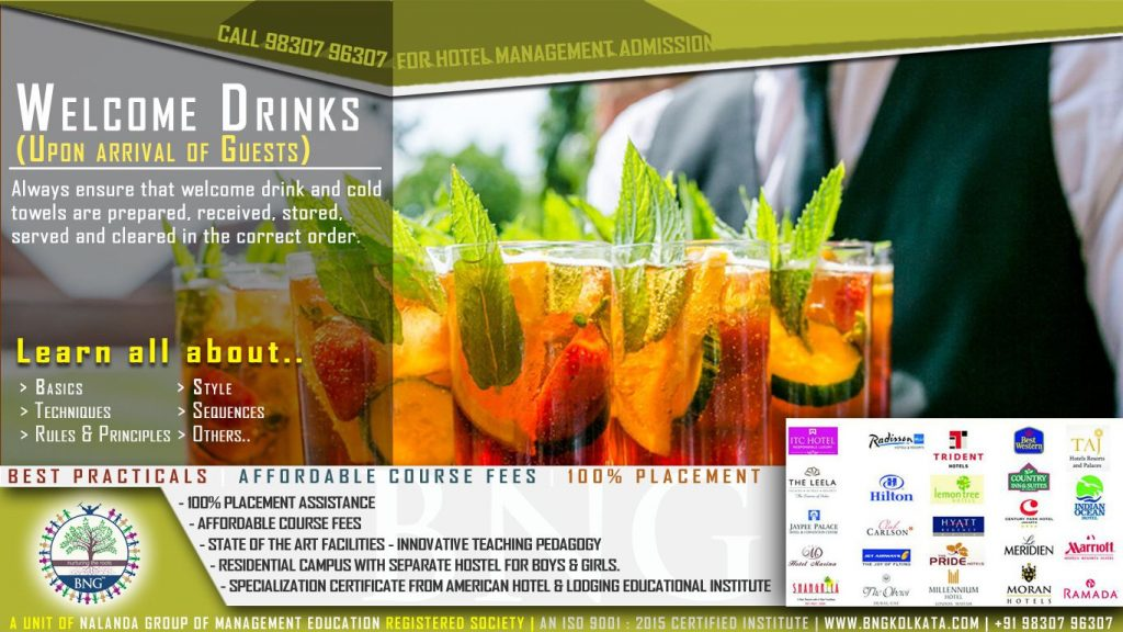 welcome drinks by BNG Hotel Management Kolkata