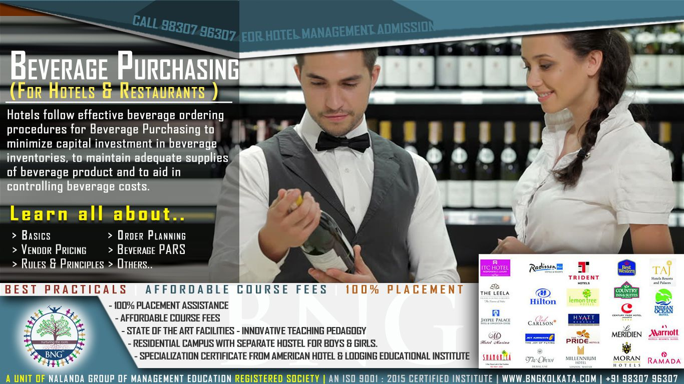 beverage purchasing by BNG Hotel Management Kolkata