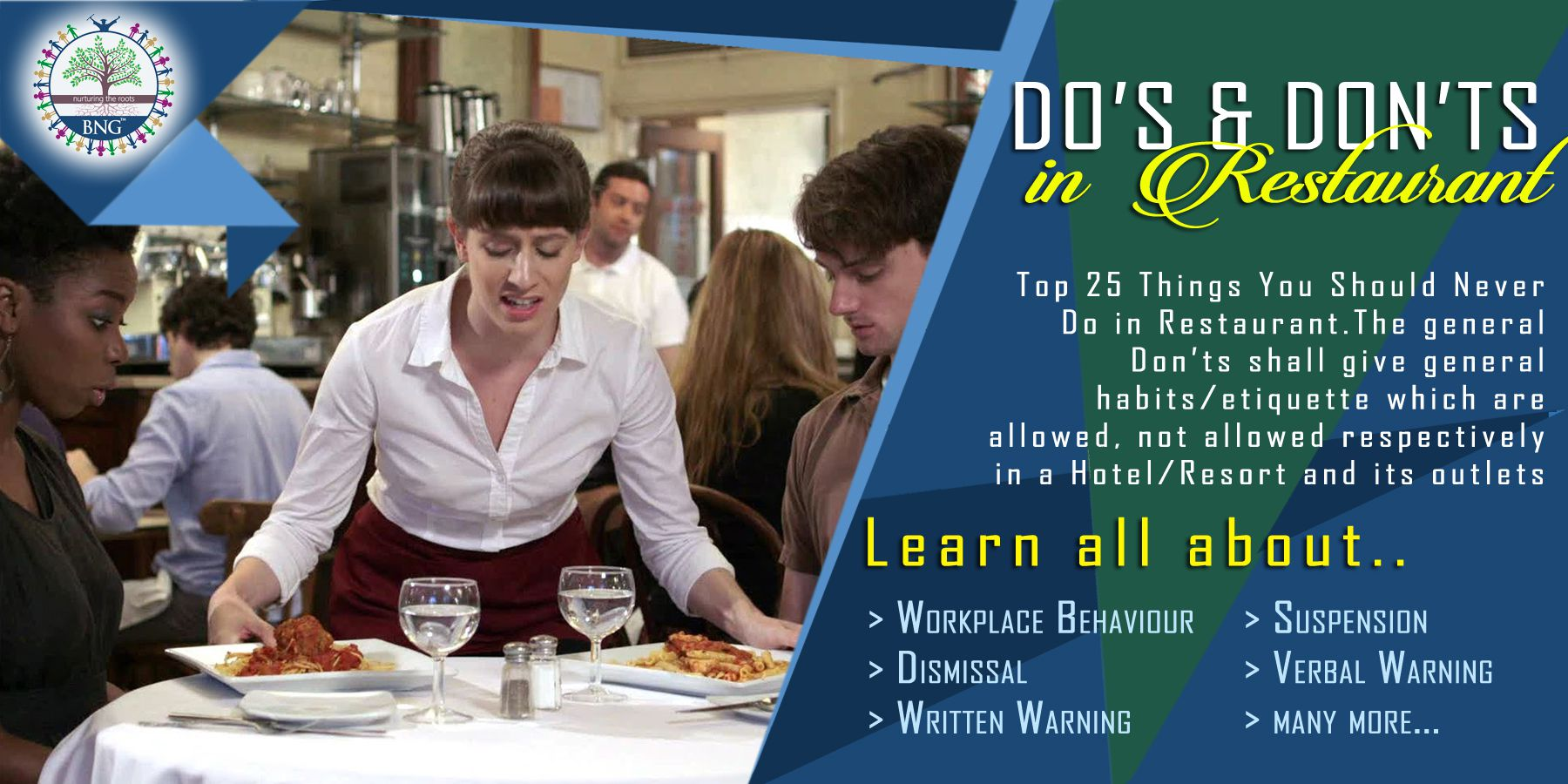 Restaurant dos and donts by BNG Hotel Management Kolkata