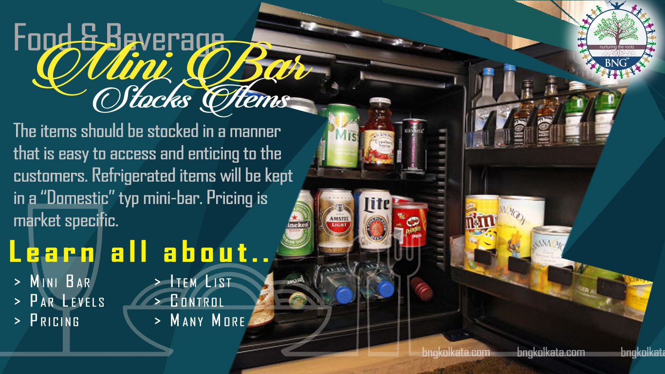 Mini Bar Stocks Items for hotels by BNG Hotel management kolkata