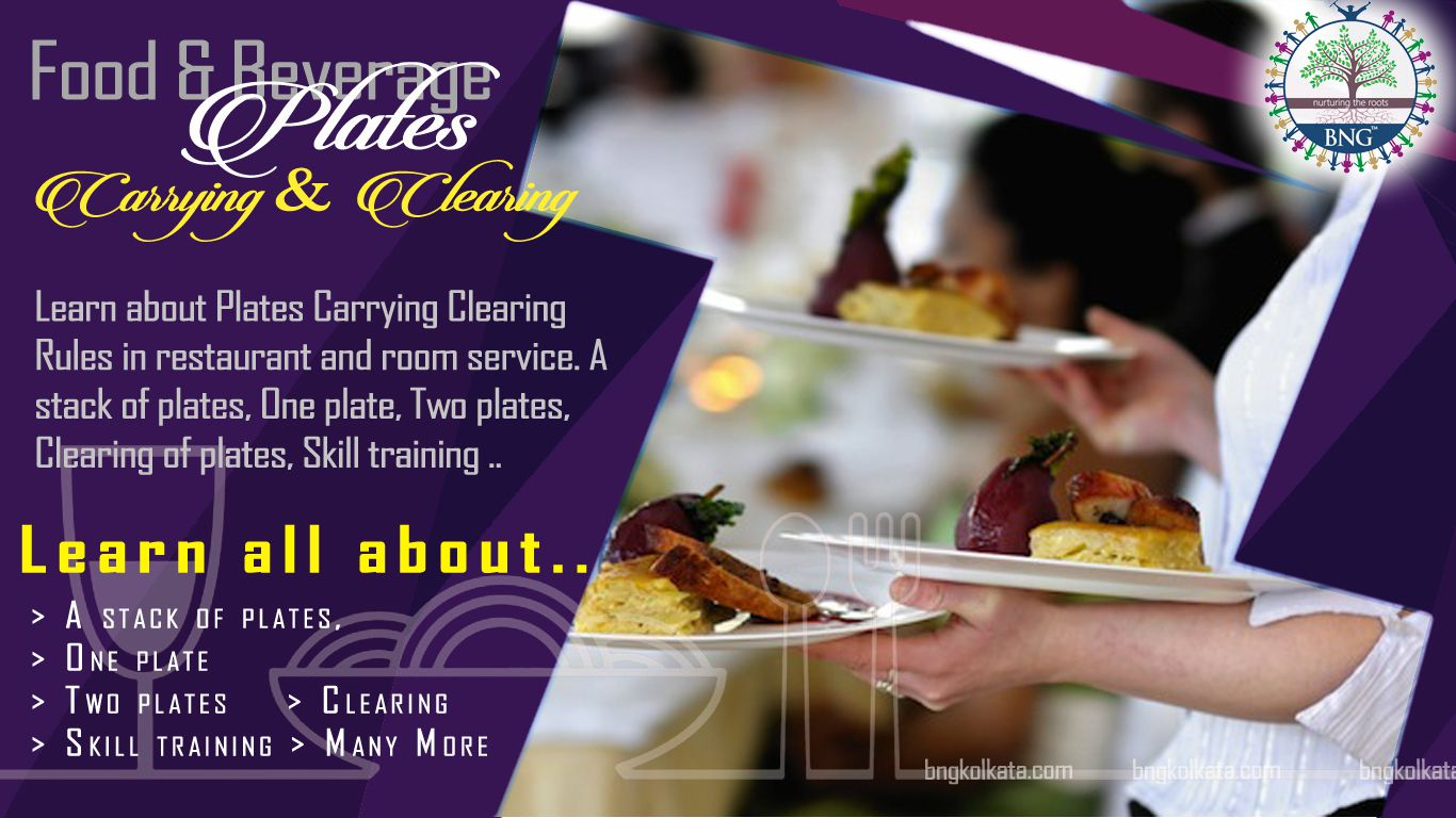 Plates Carrying Clearing Rules in restaurant and room service. A stack of plates, One plate, Two plates, Clearing of plates, Skill training