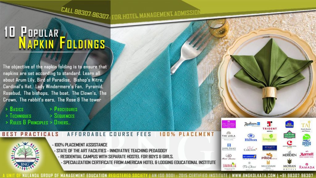 10 popular napkin folding by BNG Hotel Management Kolkata