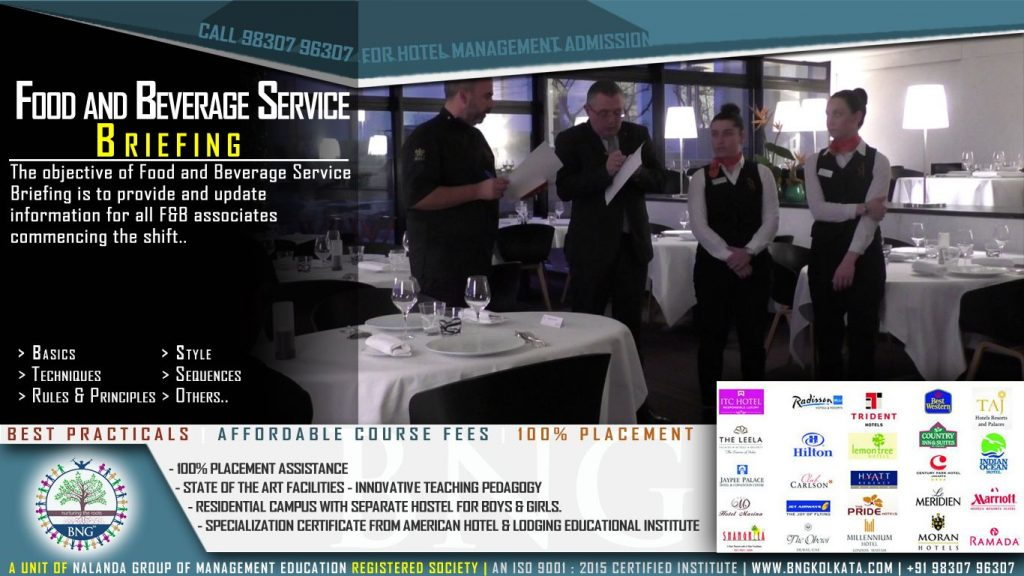 Food and Beverage Service Briefing by BNG Hotel Management Kolkata