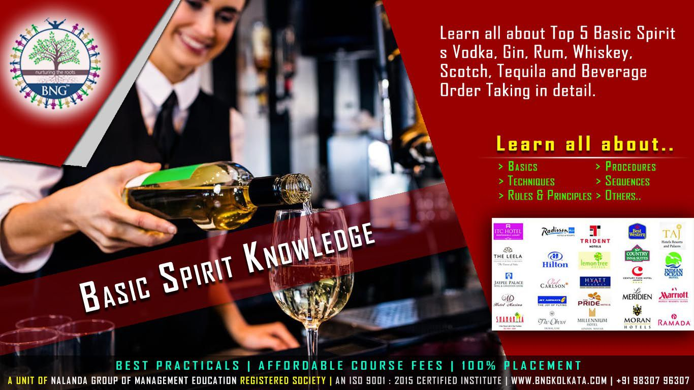 Basic Spirit Knowledge by BNG Hotel Management Kolkata