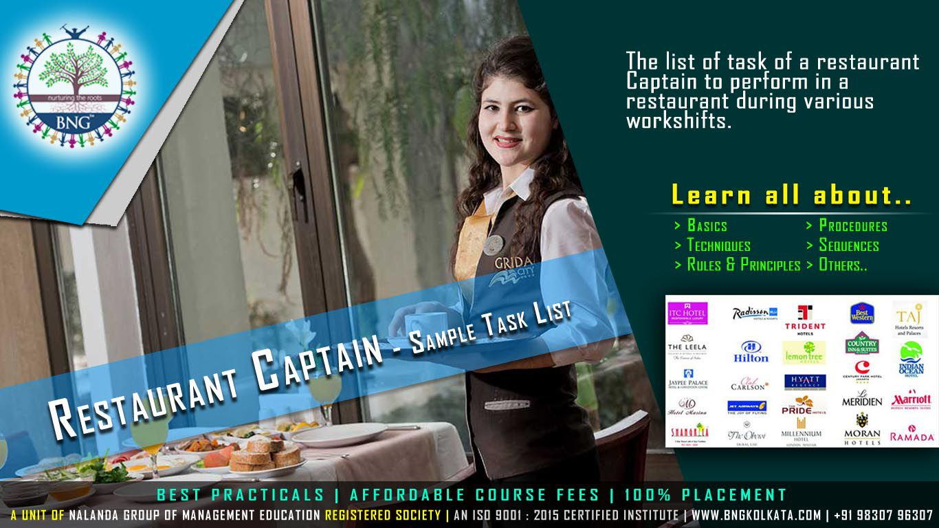 Restaurant Captain - Sample Task List by BNG Hotel Management Kolkata