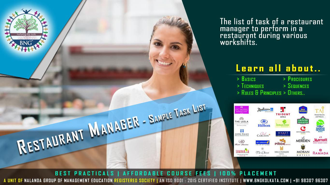 Restaurant Manager - Sample Task List by BNG Hotel Management Kolkata