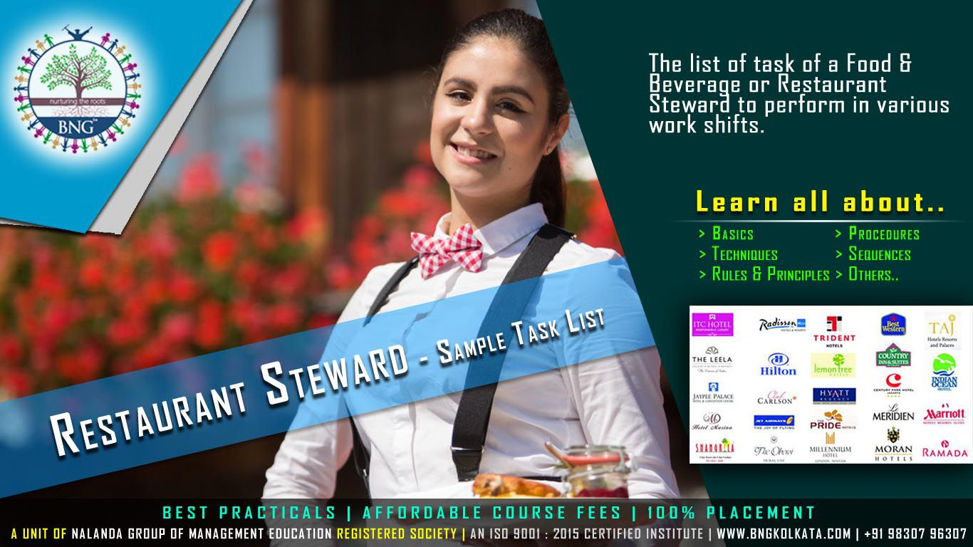 Restaurant Steward - Sample Task List by BNG Hotel Management Kolkata
