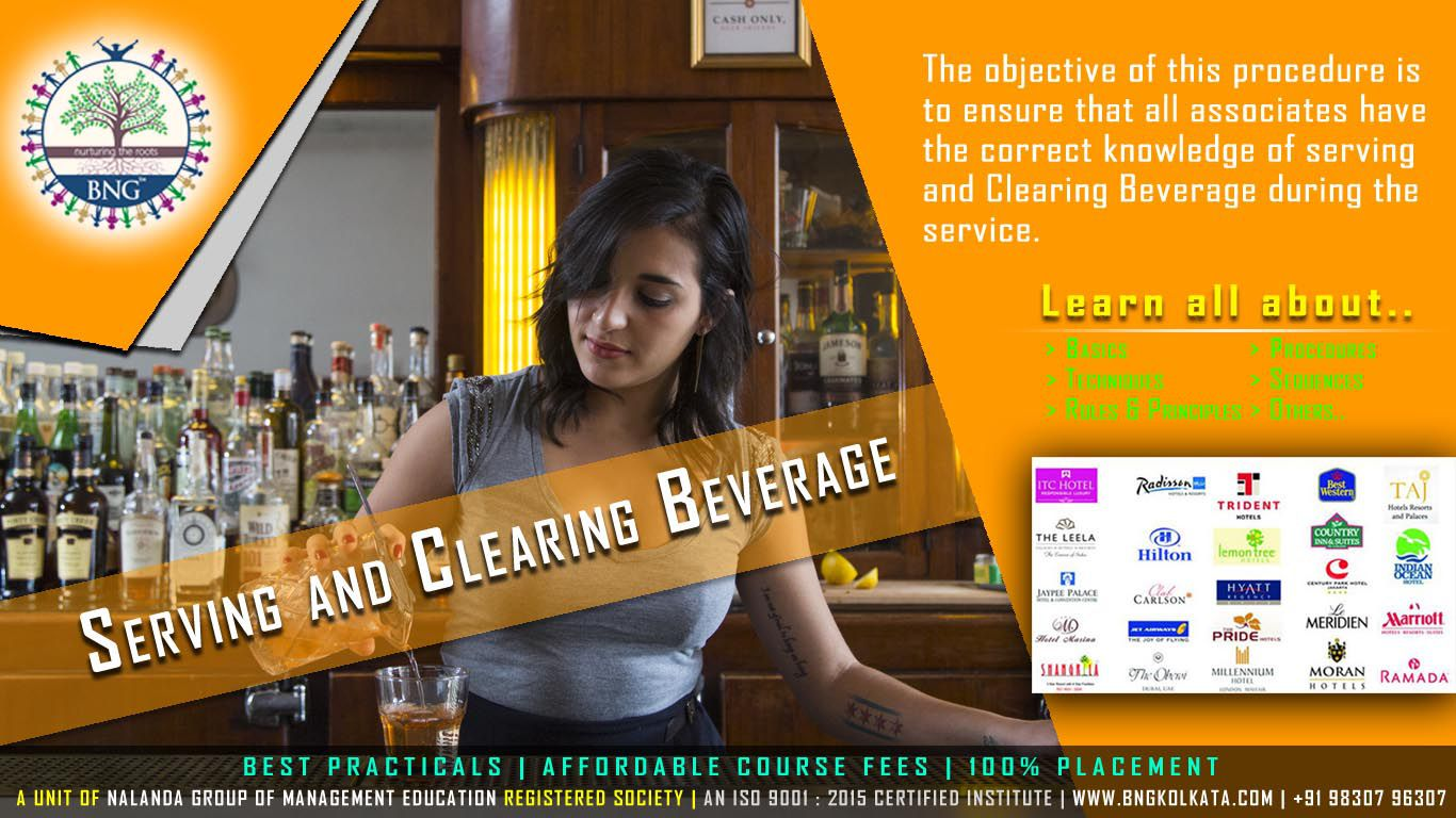 Serving and Clearing Beverage by BNG Hotel Management Kolkata